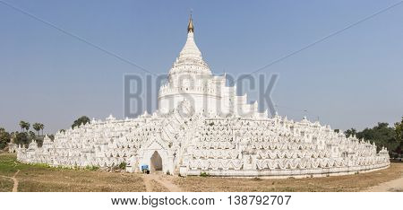 Beautiful white Hsinbyume Pagoda in Mingun, Western bank of Irrawaddy river, Myanmar