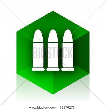 ammunition cube icon, green modern design web element