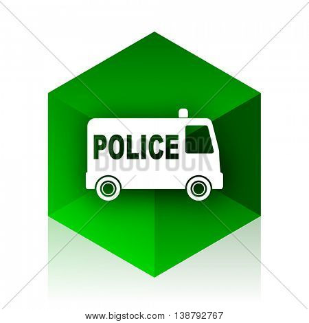 police cube icon, green modern design web element