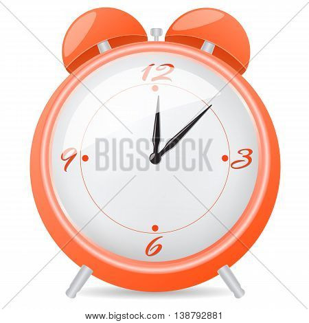Orange alarm clock. Vector illustration isolated on white