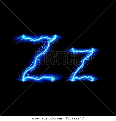 Uppercase and lowercase letters Z in lighting style