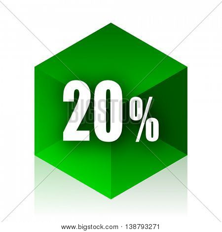 20 percent cube icon, green modern design web element
