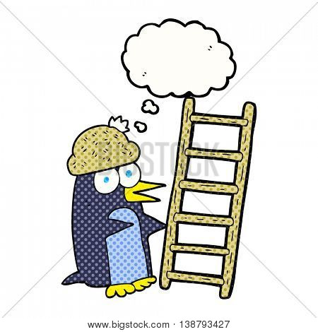 freehand drawn thought bubble cartoon penguin with ladder