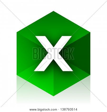 cancel cube icon, green modern design web element