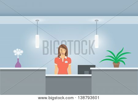 Young woman receptionist stands at reception desk. Front view. Vector flat illustration. Office hall interior design with green plants and beautiful girl administrator. Hotel registration background