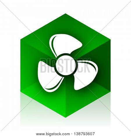 fan cube icon, green modern design web element