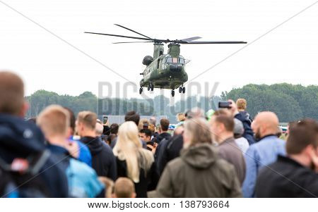 Leeuwarden, Netherlands - June 11 2016: Chinook Ch-47 Military Helicopter In Action During A Demonst