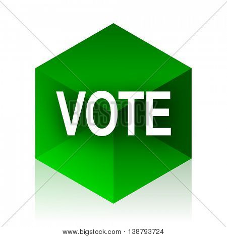 vote cube icon, green modern design web element