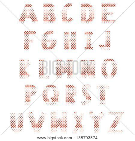 Red hearts alphabet on a white background. Latin letters consist of hearts. Elements of typography for cards, headlines, posters, labels and postals. Love font style