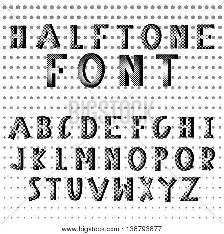 Halftone dots alphabet letters. Grunge style. Pixel print monochrome vector font