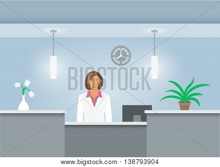 African American woman receptionist in medical coat stands at reception desk in hospital. Front view. Vector flat illustration. Dental office interior design with administrator. Clinic registry banner