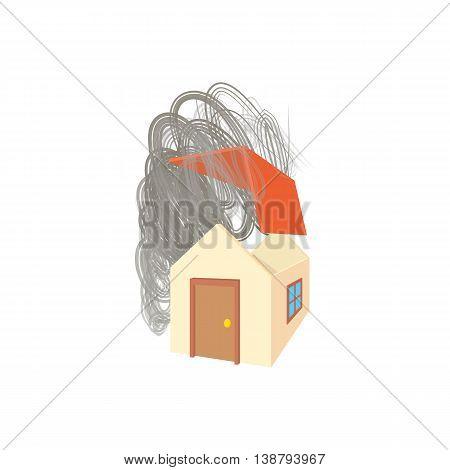 House broken by hurricane icon in cartoon style isolated on white background. Disaster symbol