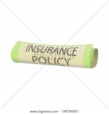 Insurance policy icon in cartoon style isolated on white background. Certificate symbol