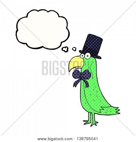 freehand drawn thought bubble cartoon posh parrot