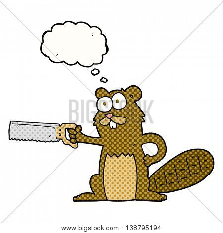 freehand drawn thought bubble cartoon beaver with saw