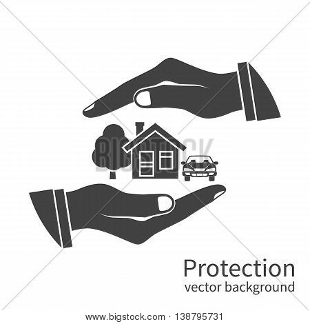 Property insurance icon. Concept security of property home car money. Insurance agent holds in hand of house protection from danger providing security. Vector illustration flat design.
