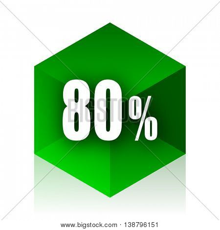 80 percent cube icon, green modern design web element