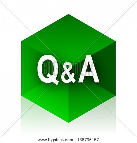 question answer cube icon, green modern design web element