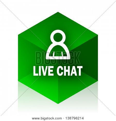 live chat cube icon, green modern design web element