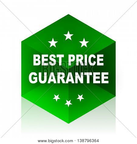 best price guarantee cube icon, green modern design web element