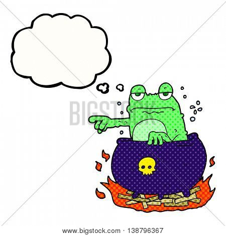 freehand drawn thought bubble cartoon halloween toad