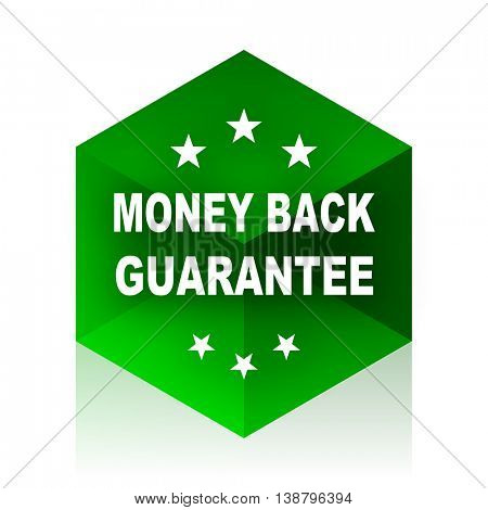 money back guarantee cube icon, green modern design web element
