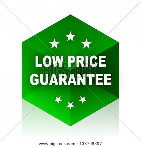 low price guarantee cube icon, green modern design web element