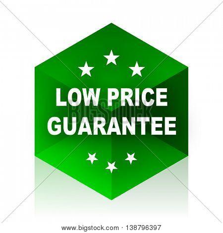 low price guarantee cube icon, green modern design web element