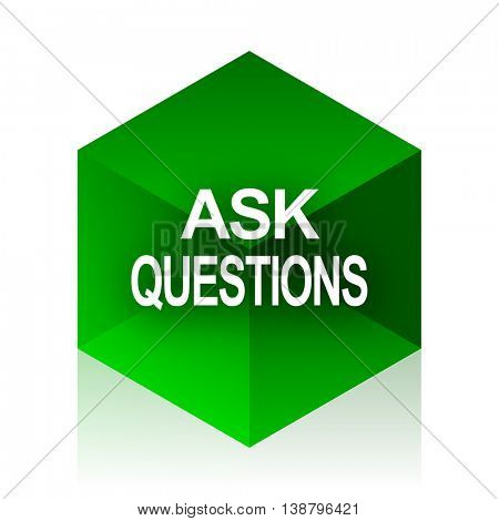 ask questions cube icon, green modern design web element