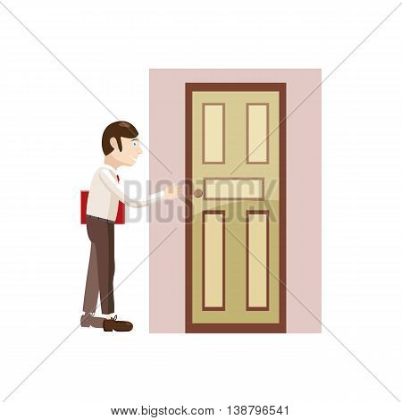 Businessman with a folder goes to the door icon in cartoon style isolated on white background