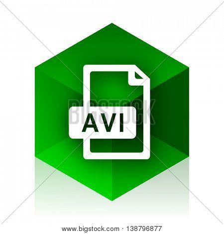 avi file cube icon, green modern design web element