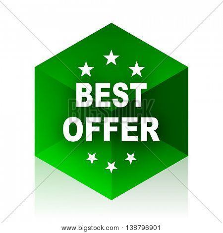 best offer cube icon, green modern design web element