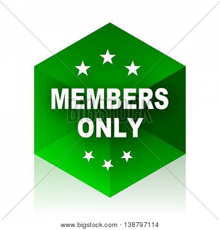 members only cube icon, green modern design web element