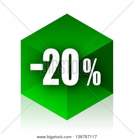 20 percent sale retail cube icon, green modern design web element