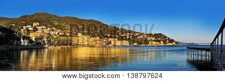 Panoramic view of Rapallo Resort on the Italian Riviera Europe