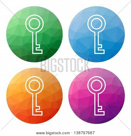 Set  Of 4 Isolated Modern Low Polygonal Buttons - Icons - For Key (private, Login, Access, ...)