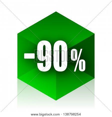 90 percent sale retail cube icon, green modern design web element