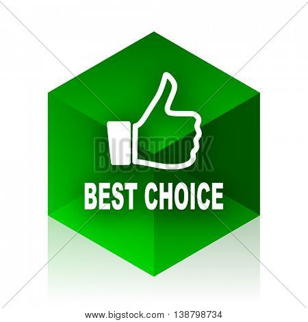 best choice cube icon, green modern design web element
