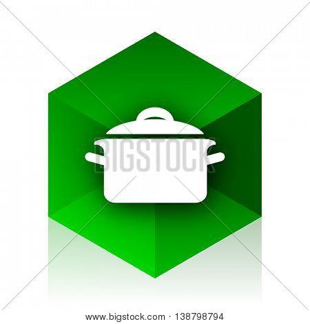 cook cube icon, green modern design web element