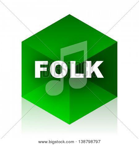 folk music cube icon, green modern design web element