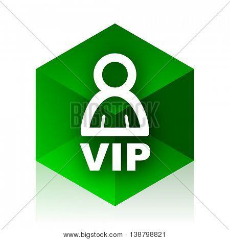 vip cube icon, green modern design web element