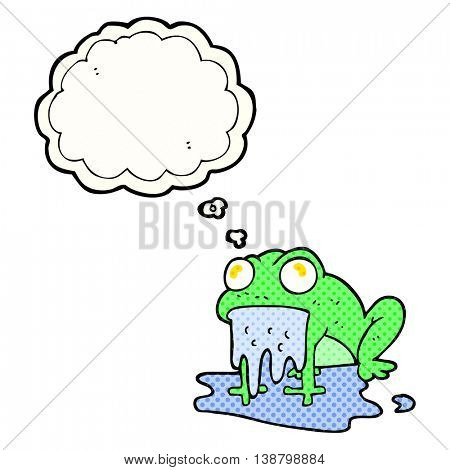 freehand drawn thought bubble cartoon gross little frog