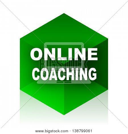 online coaching cube icon, green modern design web element