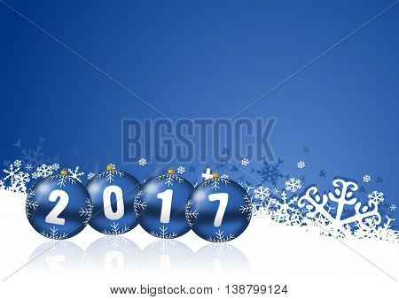 2017 new years illustration with christmas balls and snowflakes on blue background