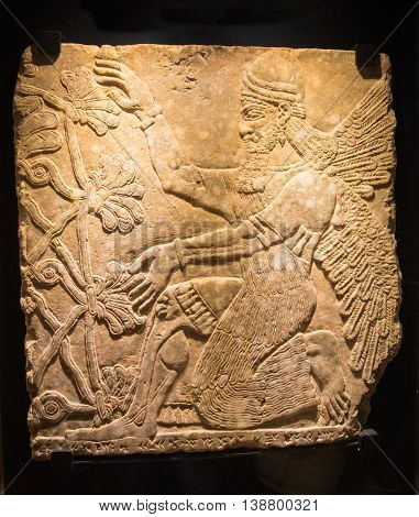 ROME, ITALY - APRIL 8, 2016: Assyrian mythical deity Shedu. Relief from Palace of Assurbanipal in Nineveh, Assyria