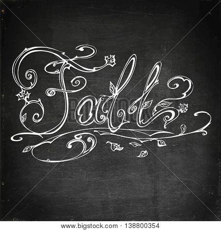 Autumn, fall. Hand drawn vector stock illustration Chalk board drawing.