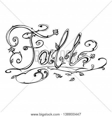 Autumn, fall. Hand drawn vector stock illustration Black and white whiteboard drawing.
