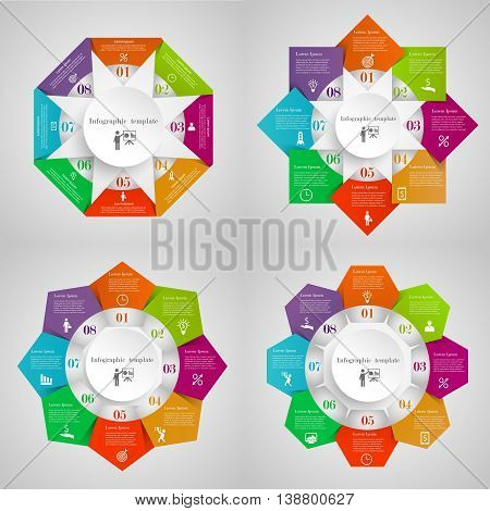 Infographic circles set from Triangles, Squares, Pentagons, Hexagons. Business templates with 8 options with icons and place for your text. Four concepts for your design