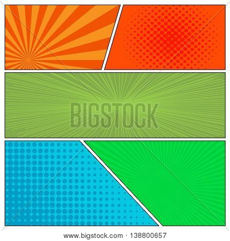 Mock-up of diferrent backgrounds for comics book. Blank template background. Pop-art style