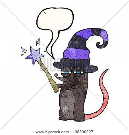 freehand speech bubble textured cartoon magic witch mouse
